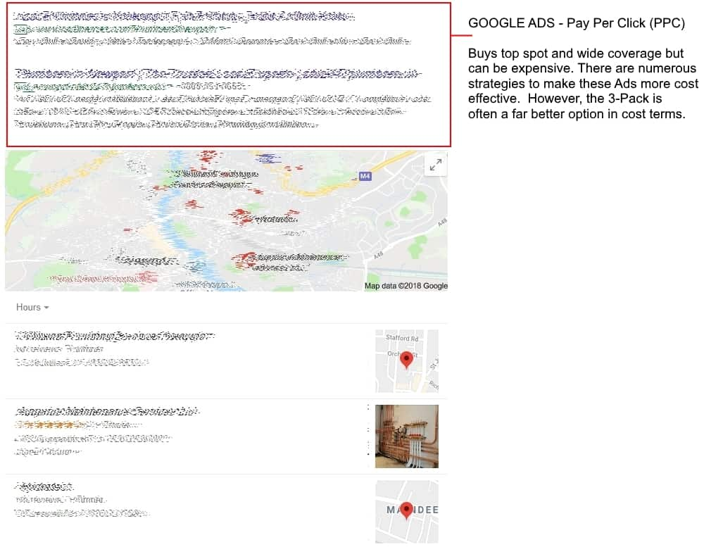 Pay per click Google Ads on search listing
